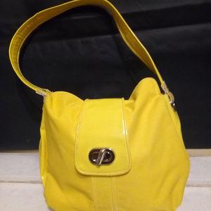 Isaac Mizrahi Yellow Hobo Fold Over Flap Handbag